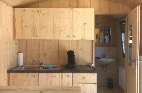 Ferienwohnung Innenansicht Küche Wohnen Bad
