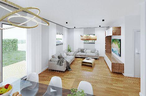Der fließende Übergang des offenen Koch-, Ess- und Wohnbereichs lässt das Erdgeschoss enorm großzügig wirken.