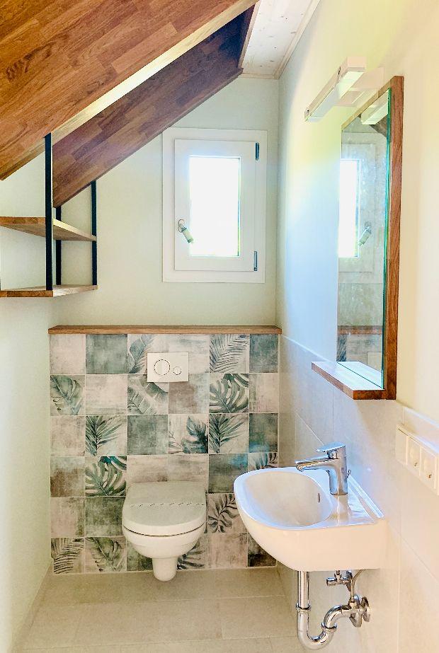 Das neue Gäste-WC der Bauherrenfamilie