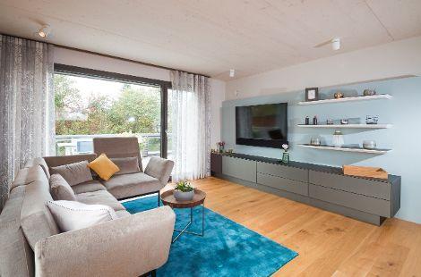 Wohnzimmer Musterhaus 2inEins Auhausen