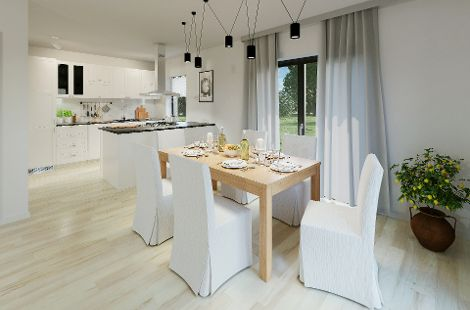 Als Mittelpunkt des Familienlebens bietet die Wohnküche ausreichend Platz für schöne Stunden mit der ganzen Familie